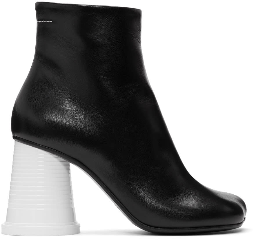 Image of Mm6 Maison Margiela Black and White Cup Heel Boots