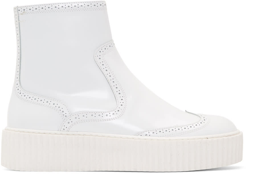 Mm6 Maison Margiela White Platform Sock Boots