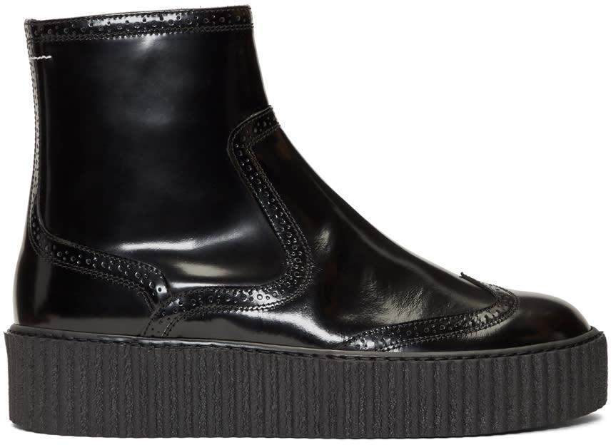Mm6 Maison Margiela Black Platform Sock Boots
