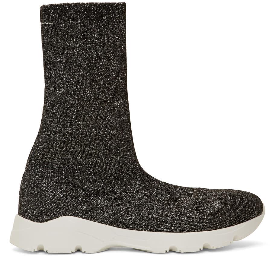 Mm6 Maison Margiela Gunmetal and Black Lurex Sneaker Boots