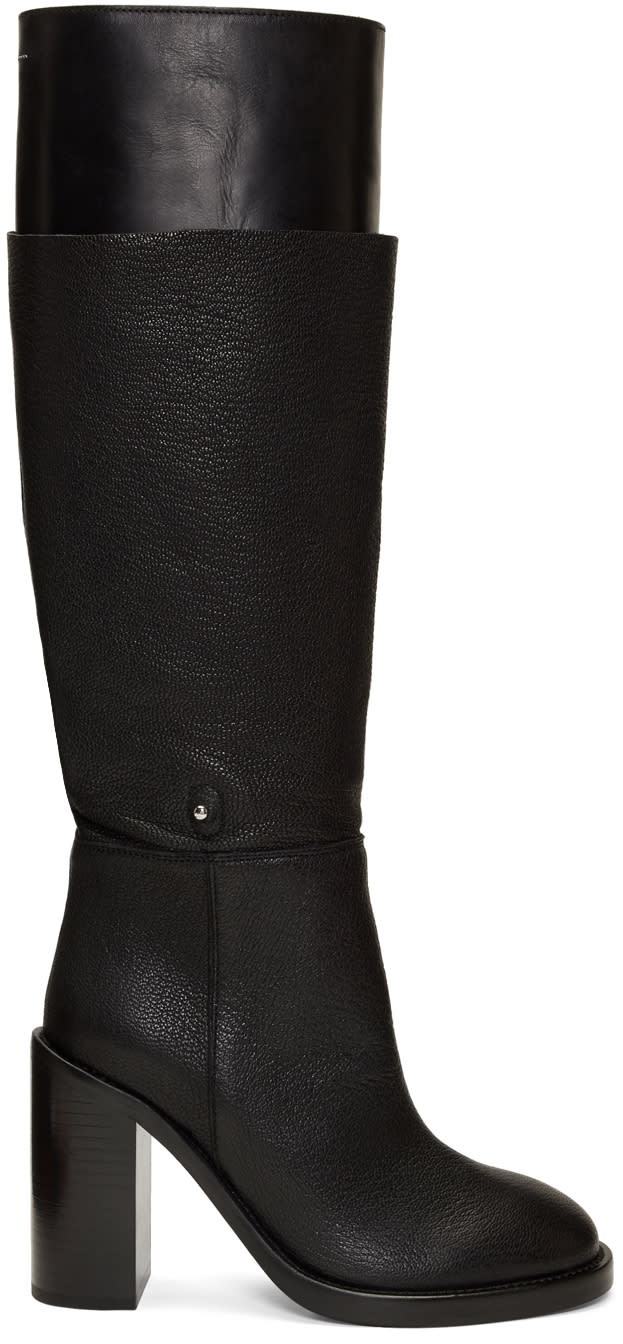 Mm6 Maison Margiela Black Layered Boots