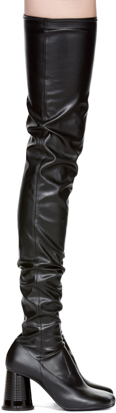 Mm6 Maison Margiela Black Cylinder Heel Over-the-knee Boots
