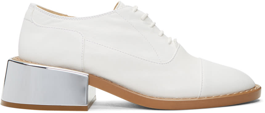 Mm6 Maison Margiela White Metallic Heel Oxfords