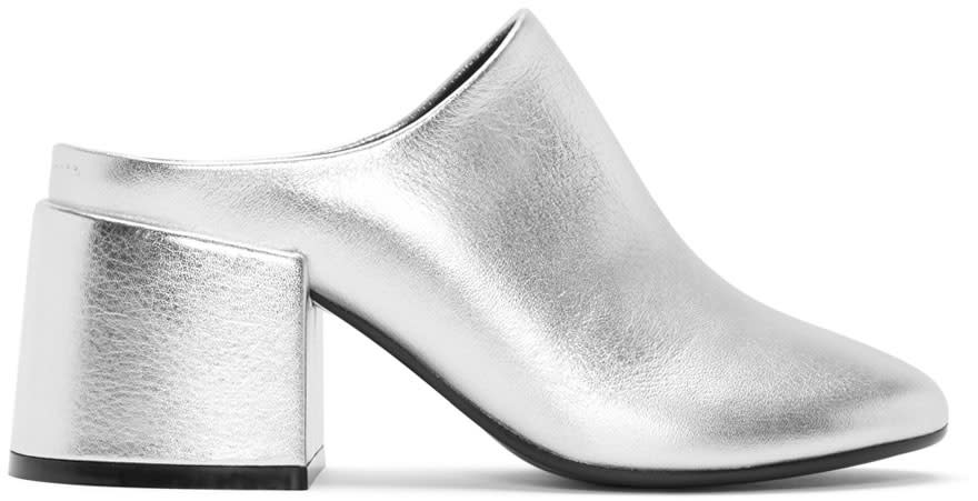 Mm6 Maison Margiela Silver Metalilc Leather Mules