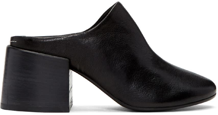 Mm6 Maison Margiela Black Leather Mules