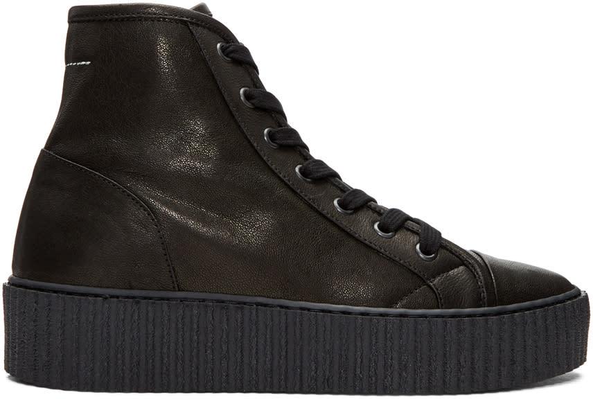 Mm6 Maison Margiela Black Sheepskin High-top Sneakers