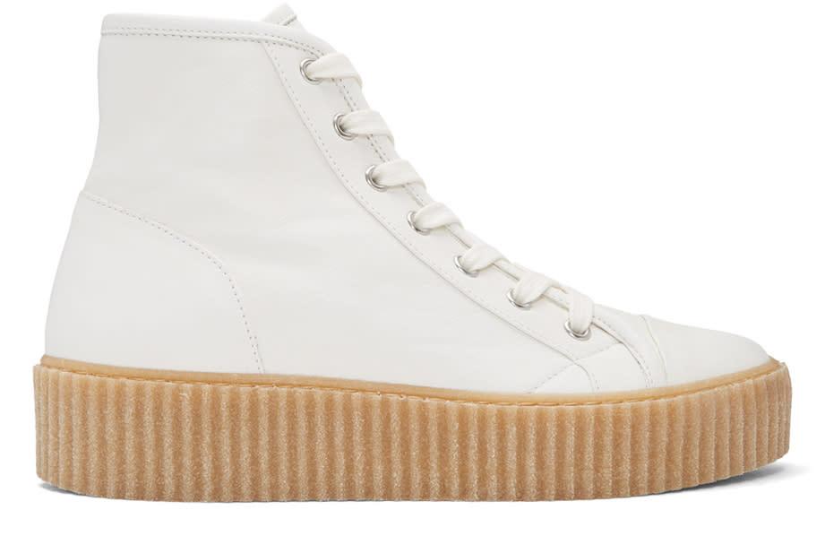 Mm6 Maison Margiela White Sheepskin High-top Sneakers