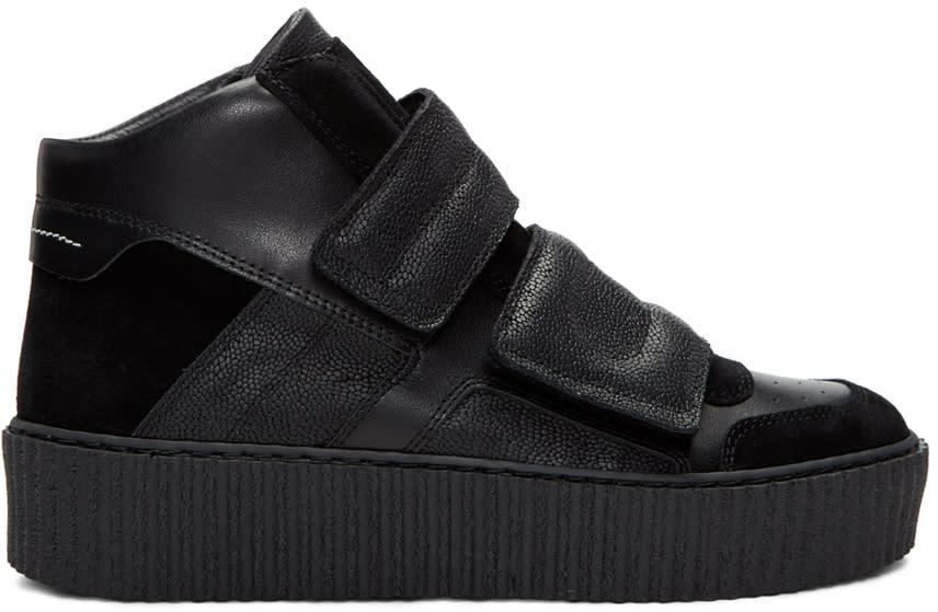 Mm6 Maison Margiela Black Platform High-top Sneakers