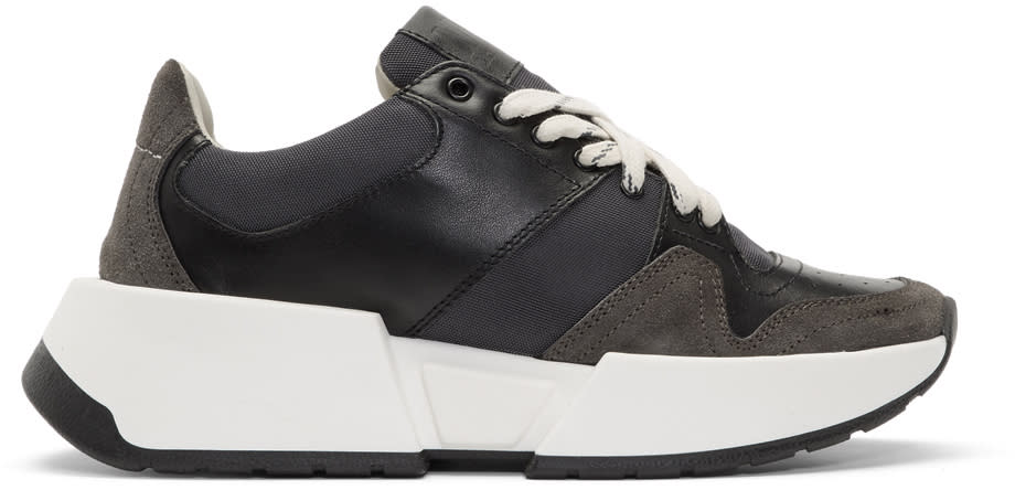 Image of Mm6 Maison Margiela Black and Grey Platform Sneakers