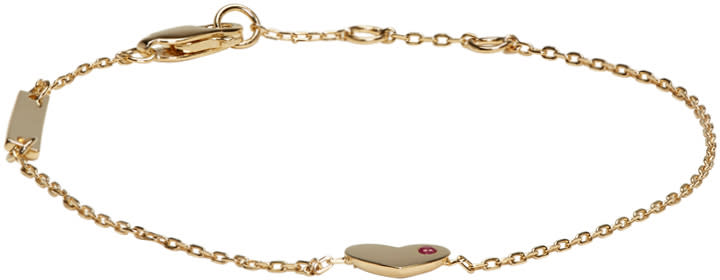 marc jacobs female marc jacobs gold heart something special bracelet