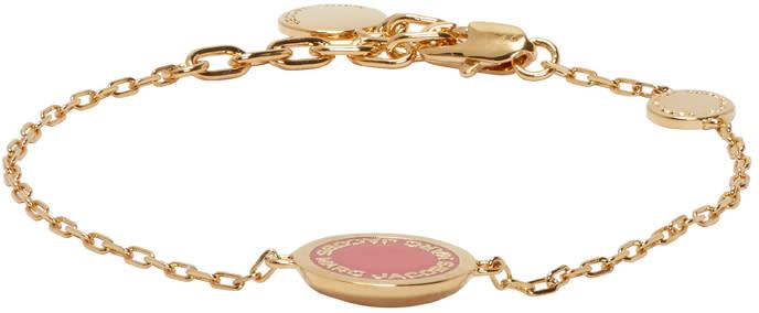 marc jacobs female marc jacobs gold logo disc bracelet