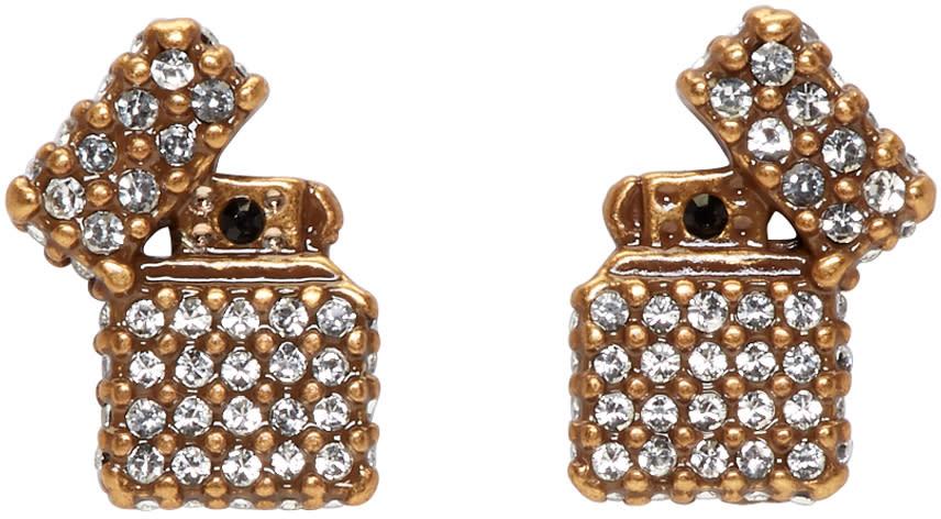marc jacobs female marc jacobs gold strass lighter earrings