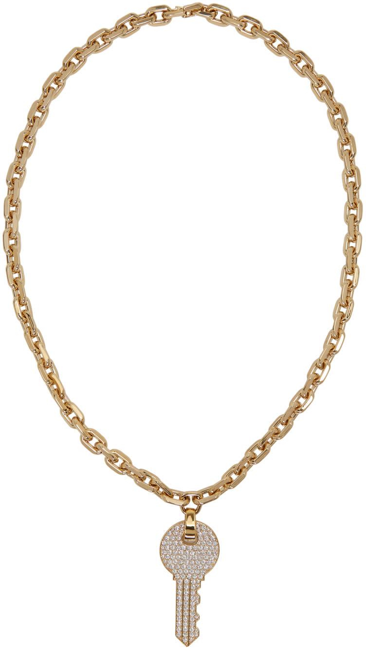 marc jacobs female marc jacobs gold long pave key necklace