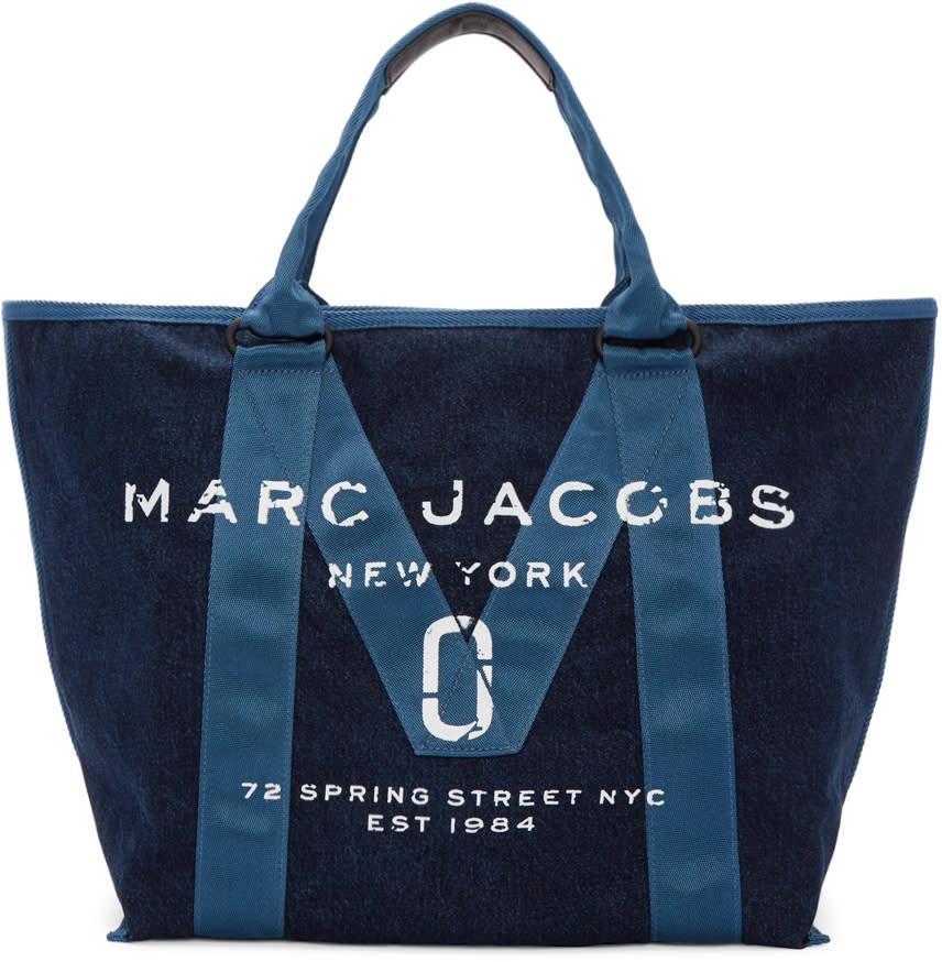 marc jacobs female marc jacobs blue denim new logo tote