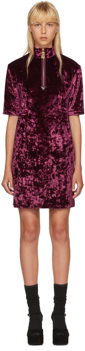 marc jacobs female marc jacobs burgundy velvet zip dress