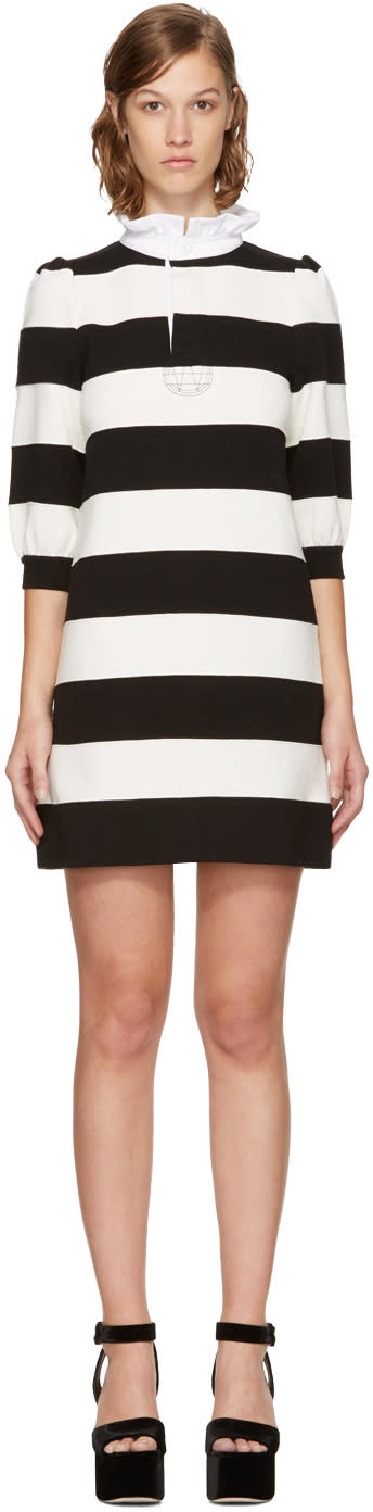 Image of Marc Jacobs Black and White Striped Puff Sleeve Dress