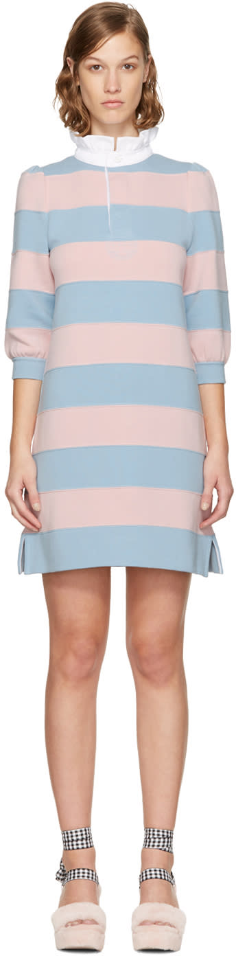 marc jacobs female marc jacobs pink and blue striped puff sleeve dress