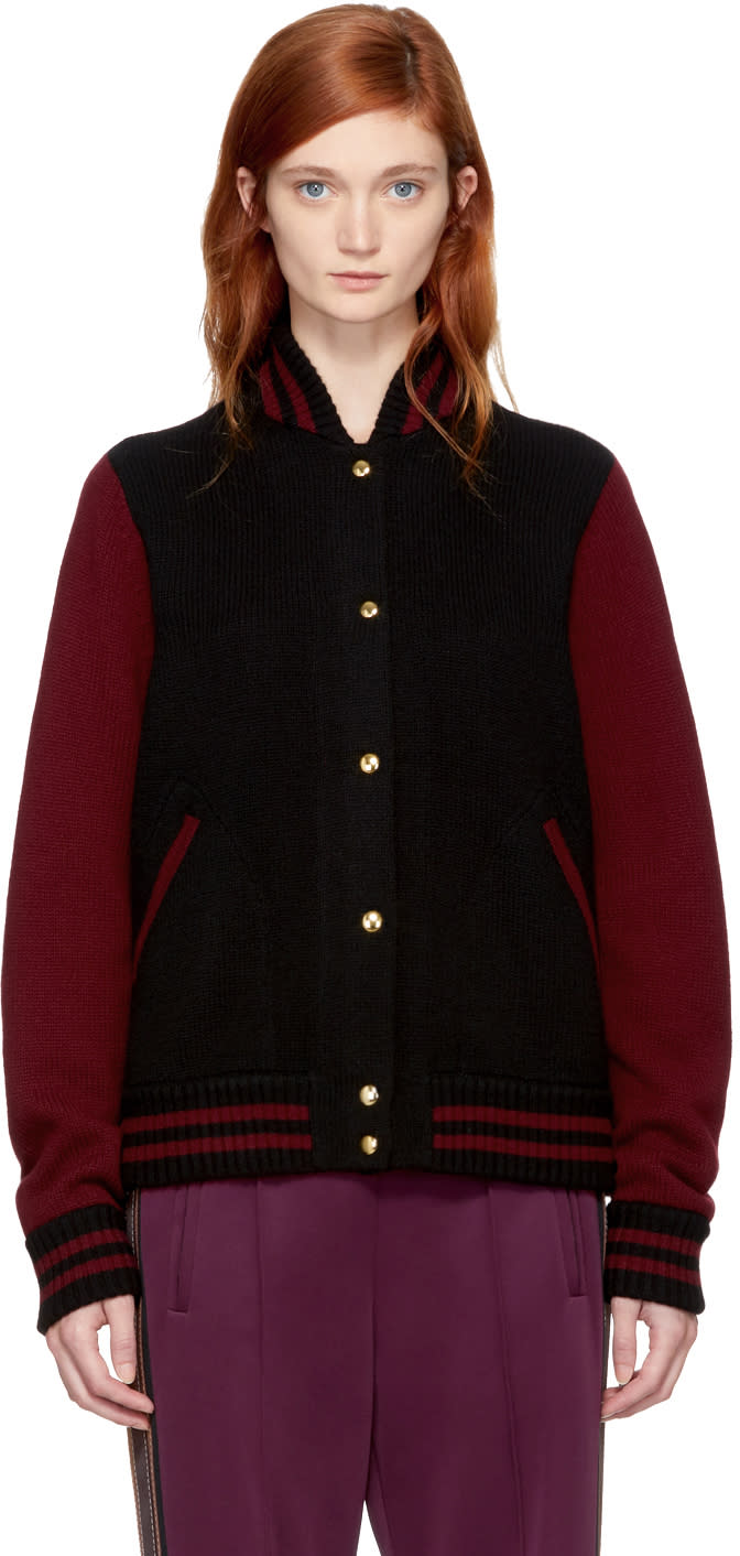 marc jacobs female marc jacobs burgundy and black knit varsity bomber jacket