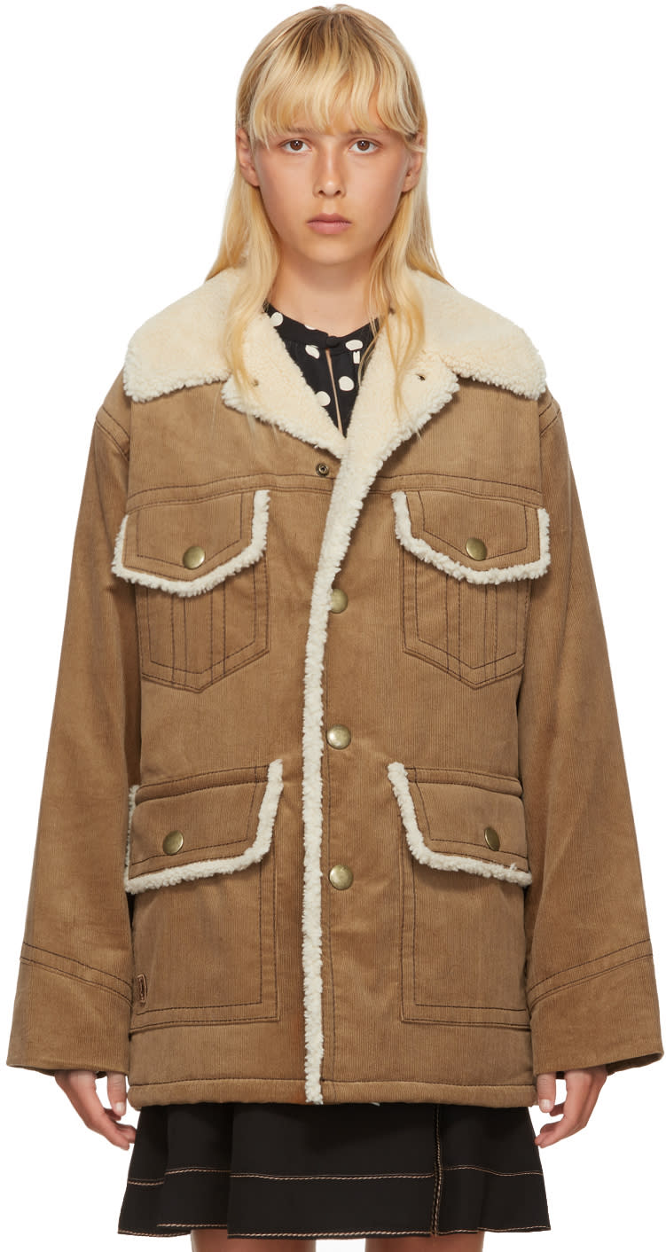 marc jacobs female marc jacobs tan oversized corduroy coat