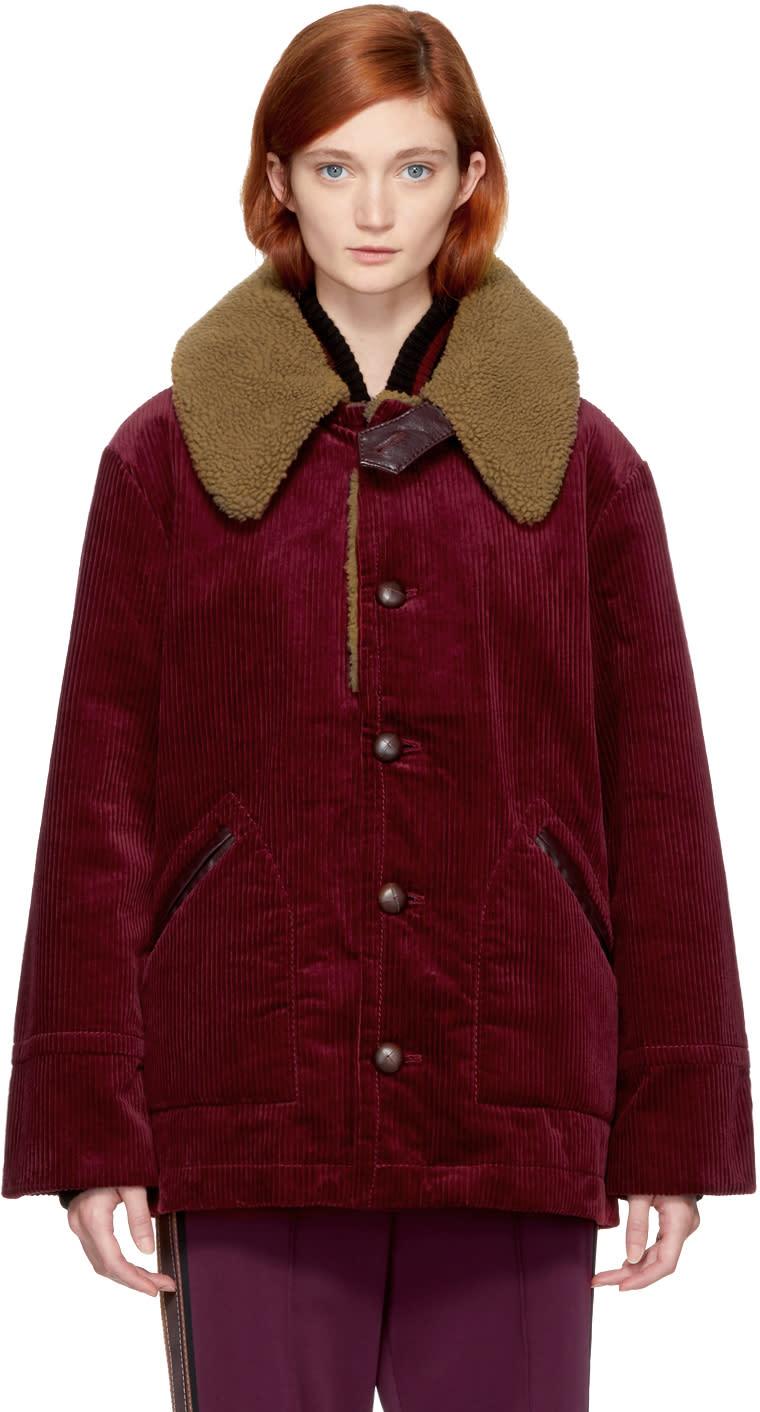 marc jacobs female marc jacobs burgundy oversized corduroy coat