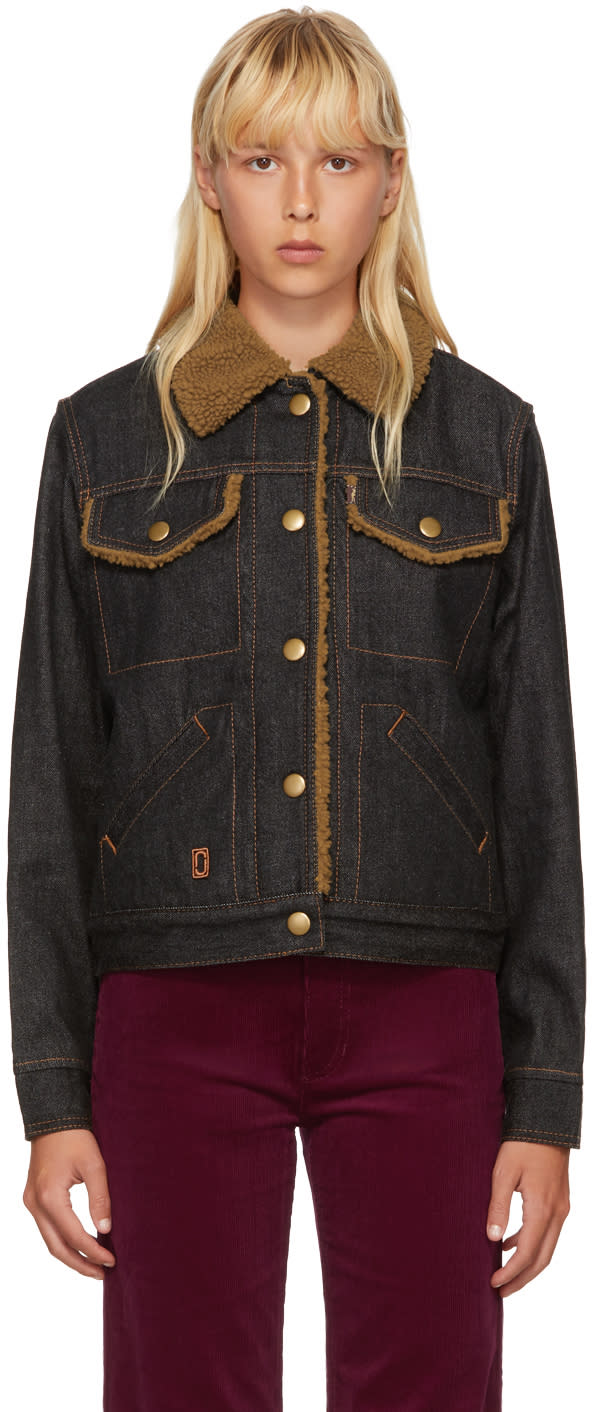 Image of Marc Jacobs Black Cropped Denim Shearling Jacket