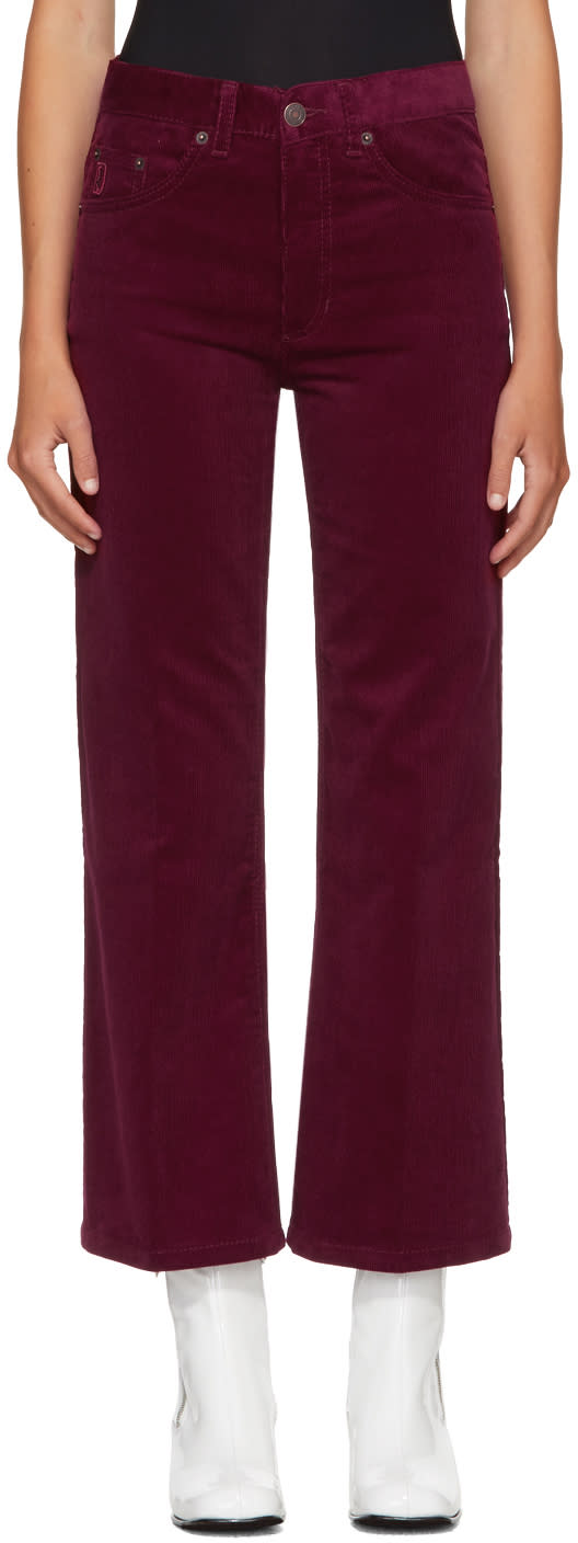 marc jacobs female marc jacobs burgundy corduroy cropped trousers