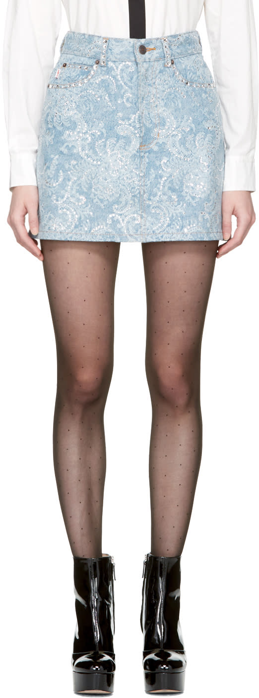 Marc Jacobs Indigo Embellished Denim Miniskirt