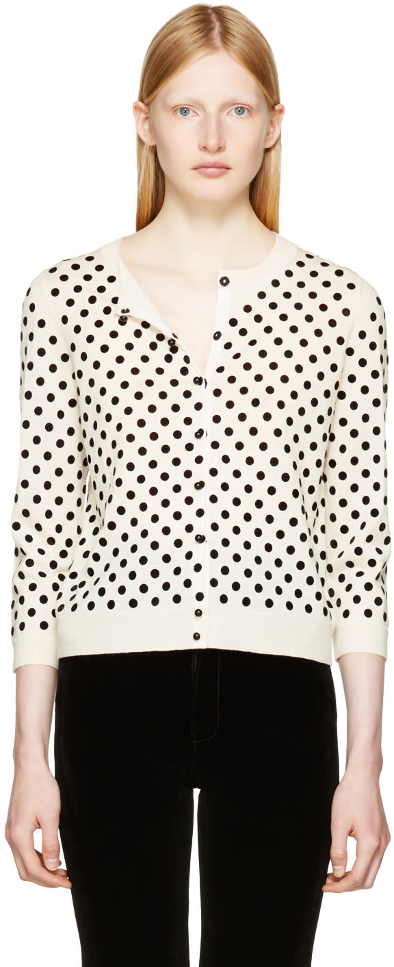marc jacobs female marc jacobs ivory polka dot cardigan