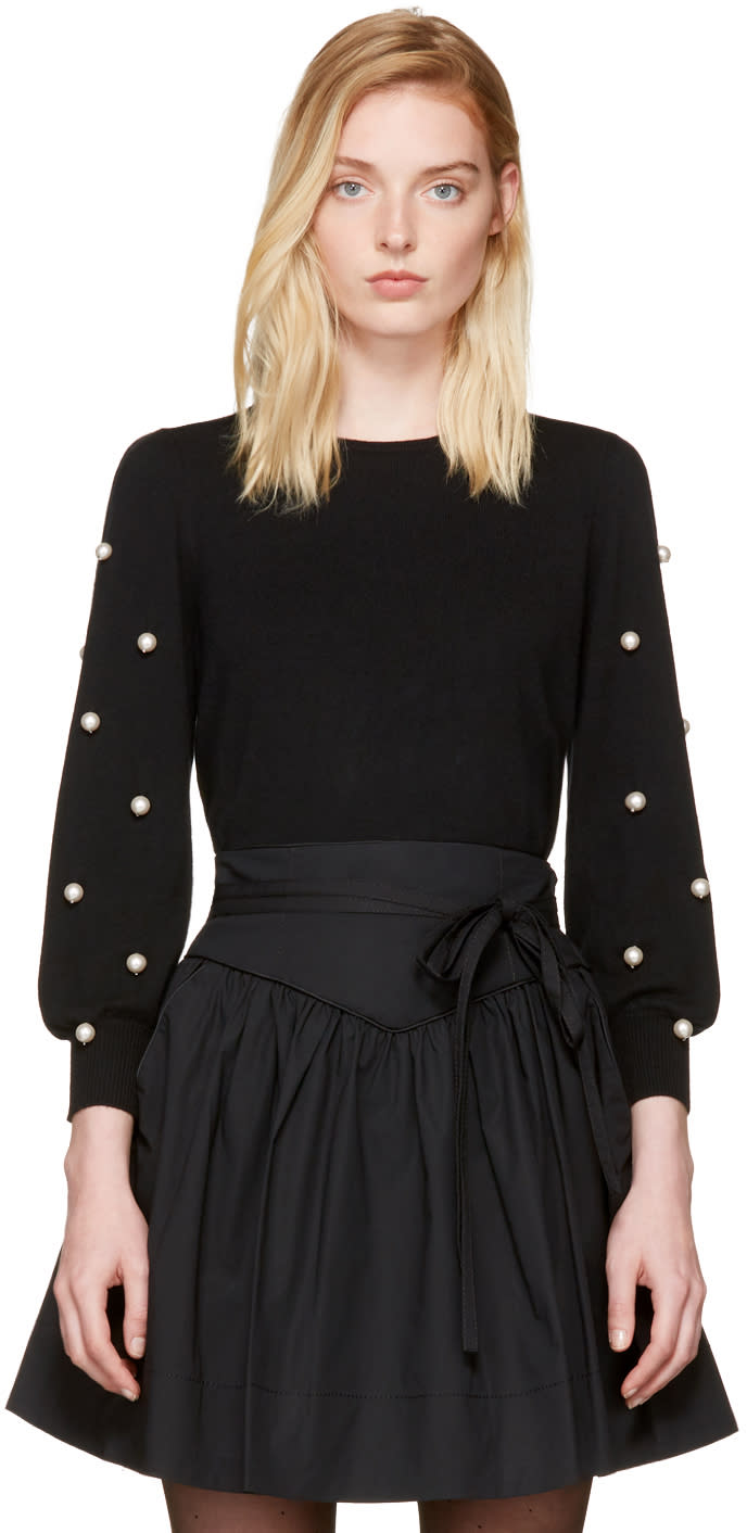 marc jacobs female marc jacobs black pearl crewneck sweater