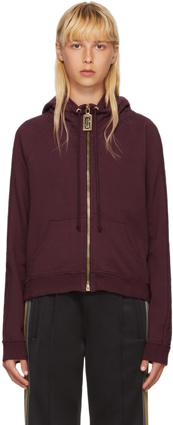 marc jacobs female marc jacobs burgundy shrunken logo hoodie