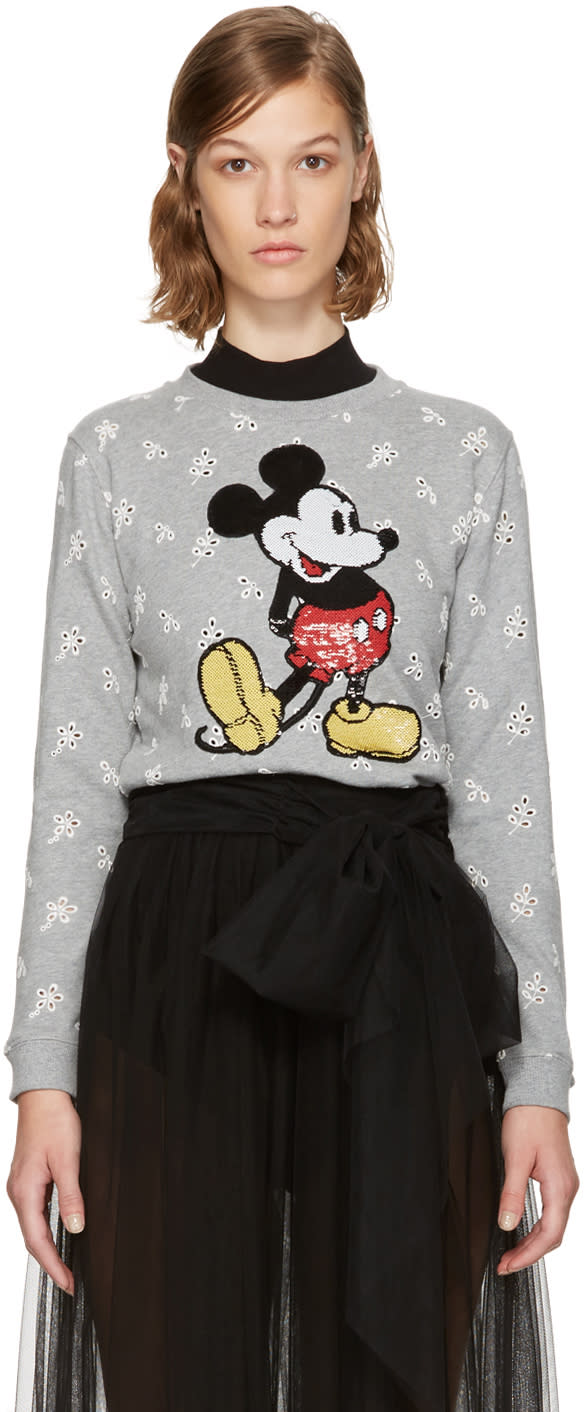 marc jacobs female marc jacobs grey shrunken broderie anglaise mickey mouse sweatshirt