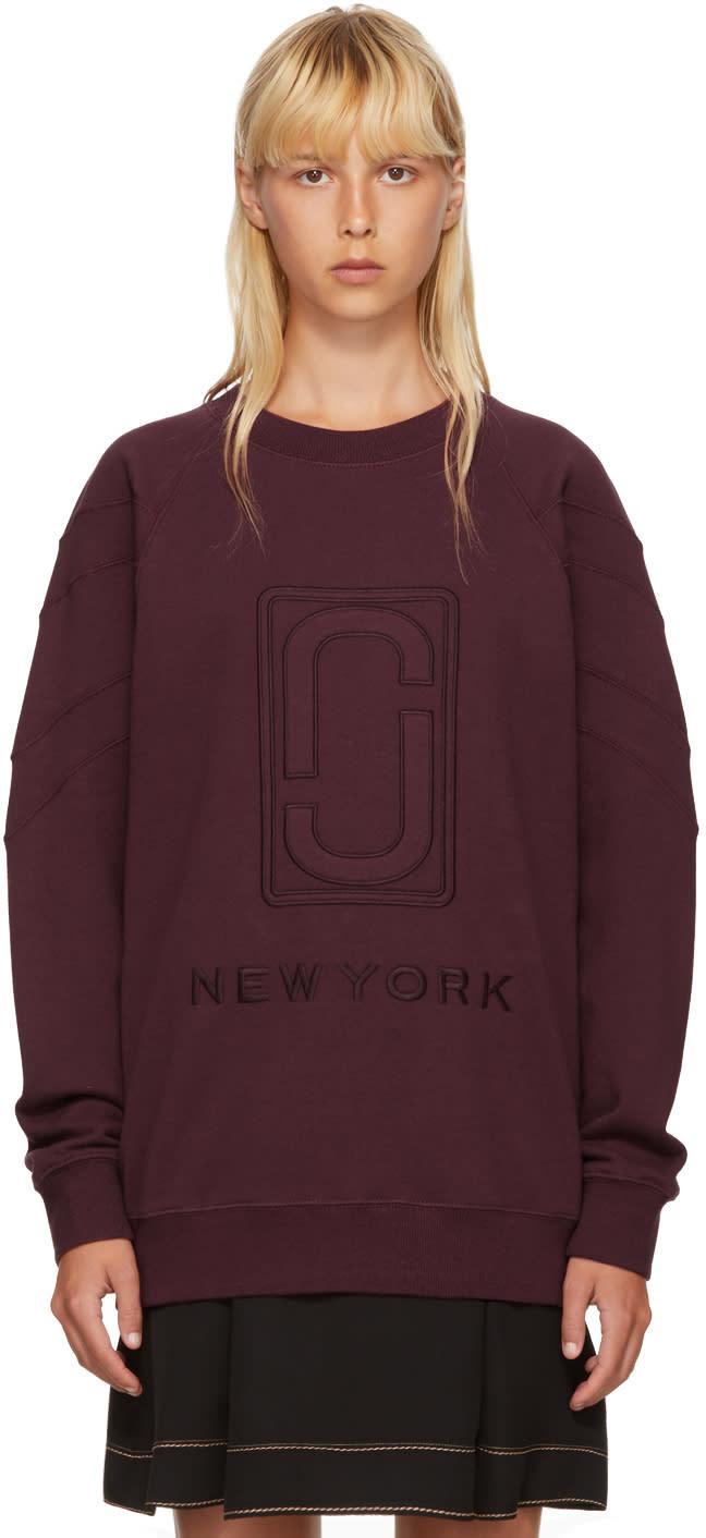 marc jacobs female marc jacobs burgundy logo sweatshirt