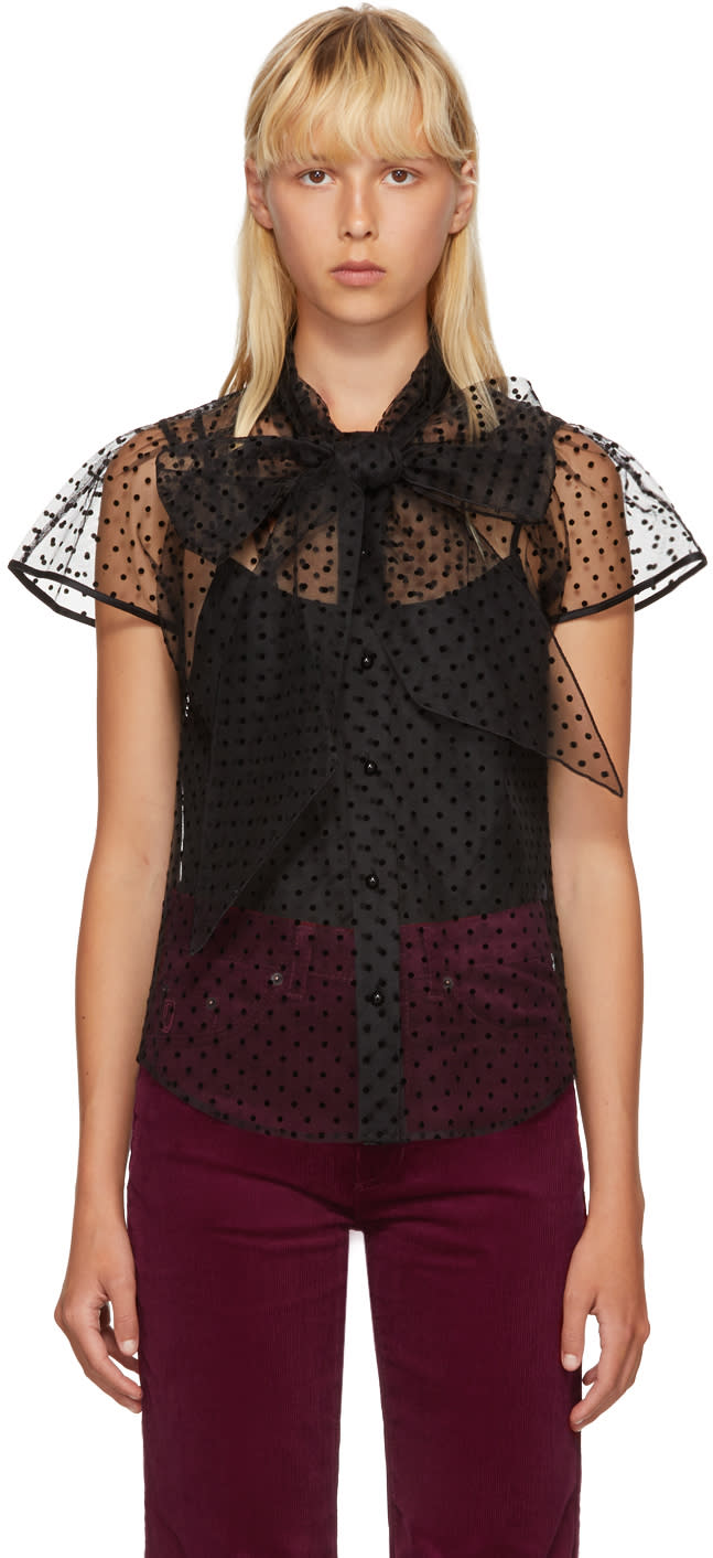 marc jacobs female marc jacobs black polka dot bow blouse