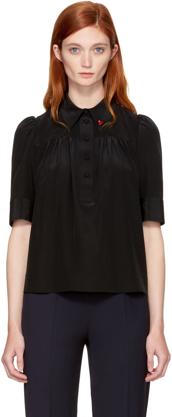 marc jacobs female marc jacobs black silk collar pin blouse