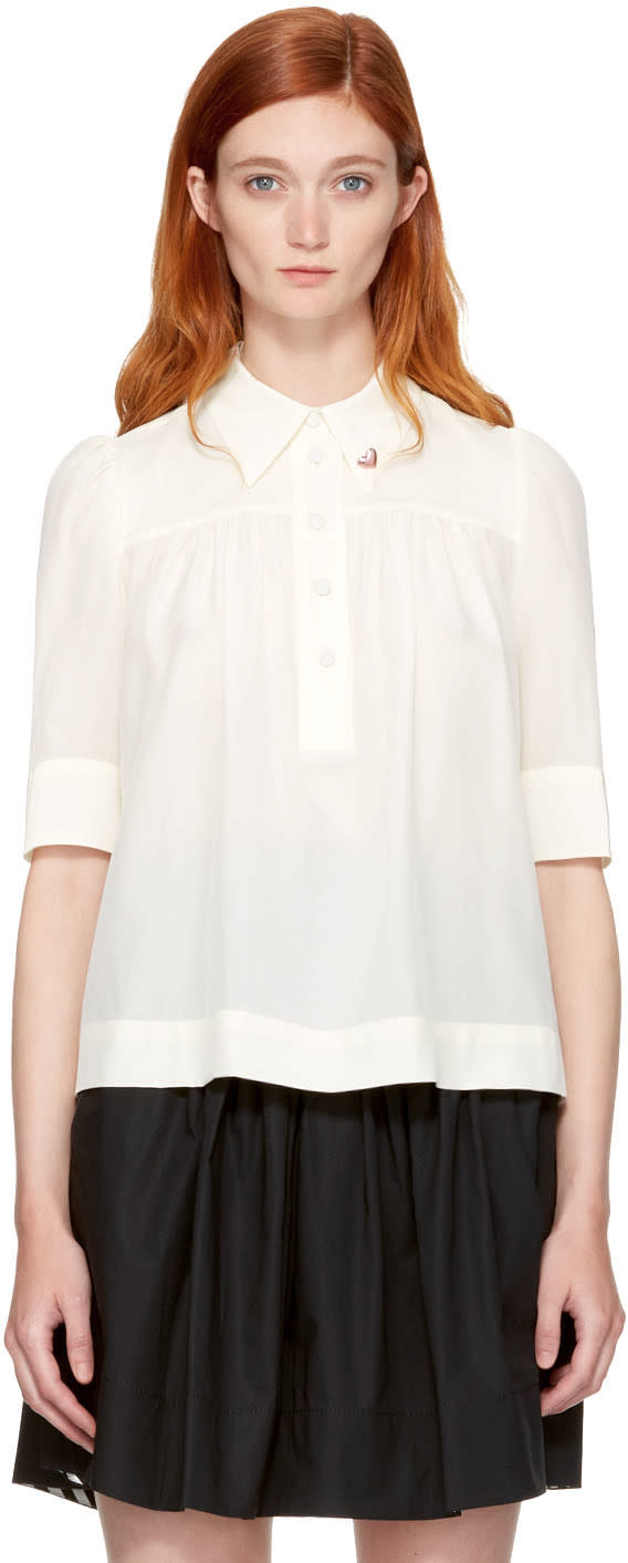 marc jacobs female marc jacobs ivory silk collar pin blouse