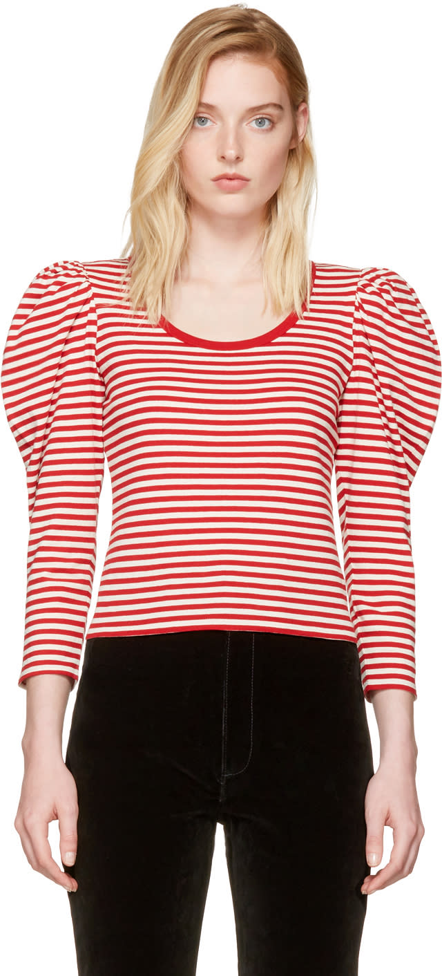 marc jacobs female marc jacobs red striped puff sleeve tshirt