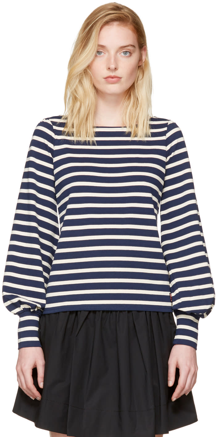 marc jacobs female marc jacobs navy and ecru striped 60s sleeve tshirt