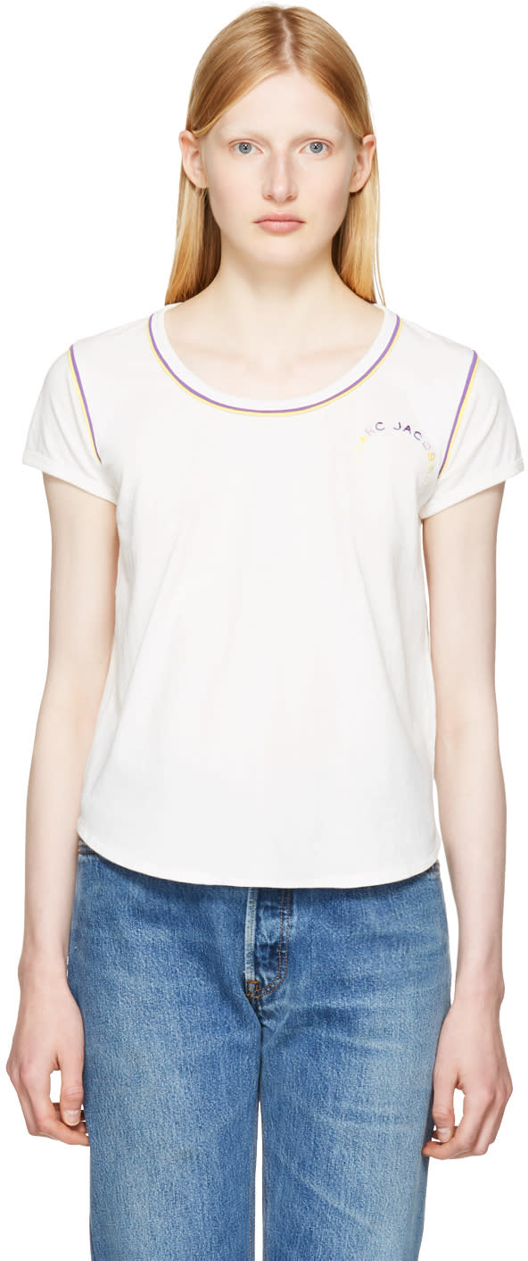 marc jacobs female marc jacobs ivory 70s cap sleeve tshirt