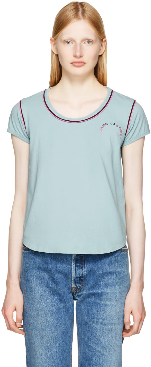 marc jacobs female marc jacobs blue 70s cap sleeve tshirt