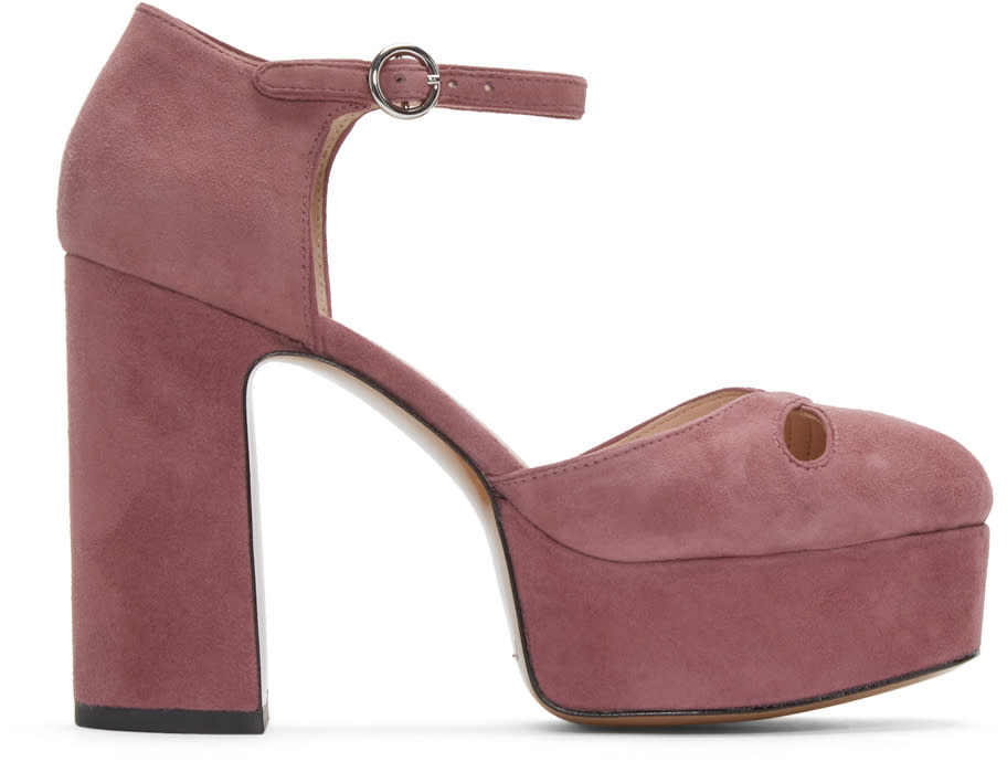 marc jacobs female marc jacobs pink suede lucille platform heels