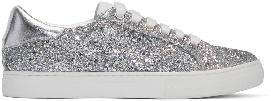 marc jacobs female marc jacobs silver glitter empire sneakers