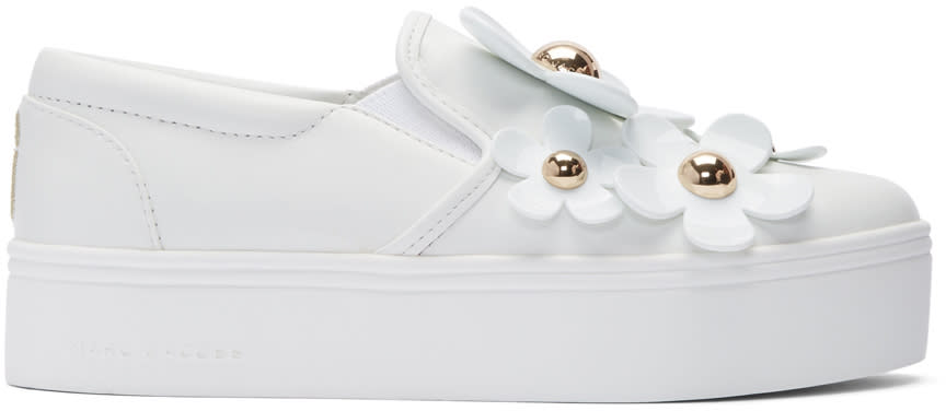 marc jacobs female marc jacobs white daisy flatform slipon sneakers