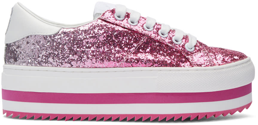 marc jacobs female marc jacobs pink grand glitter platform sneakers