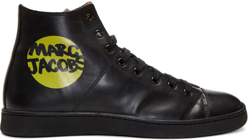 marc jacobs male marc jacobs black logo hightop sneakers