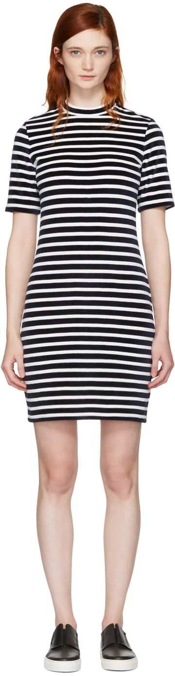T By Alexander Wang Navy and White Striped Velour Dress
