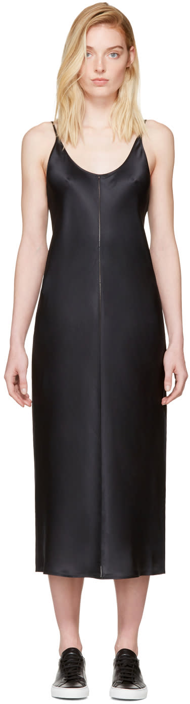 T By Alexander Wang Black Silk Charmeuse Cami Dress