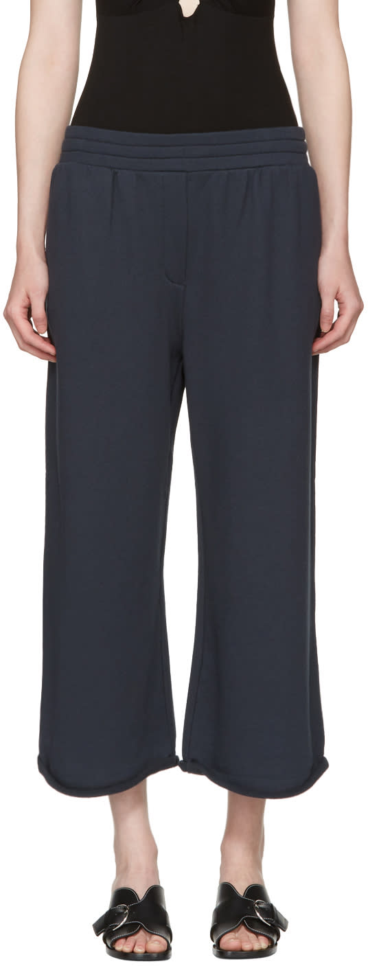 T By Alexander Wang Navy Wide Pull-on Lounge Pants