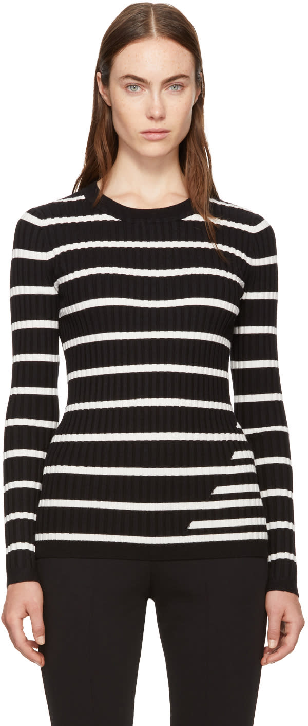 Image of T By Alexander Wang Black and Ivory Striped Fitted Rib Pullover