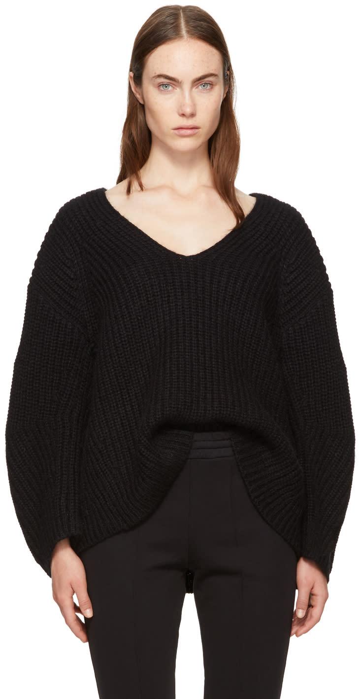 Image of T By Alexander Wang Black Bracelet Sleeve V-neck Sweater