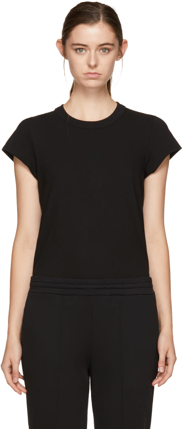 Image of T By Alexander Wang Black Cap Sleeve Fitted Bodysuit
